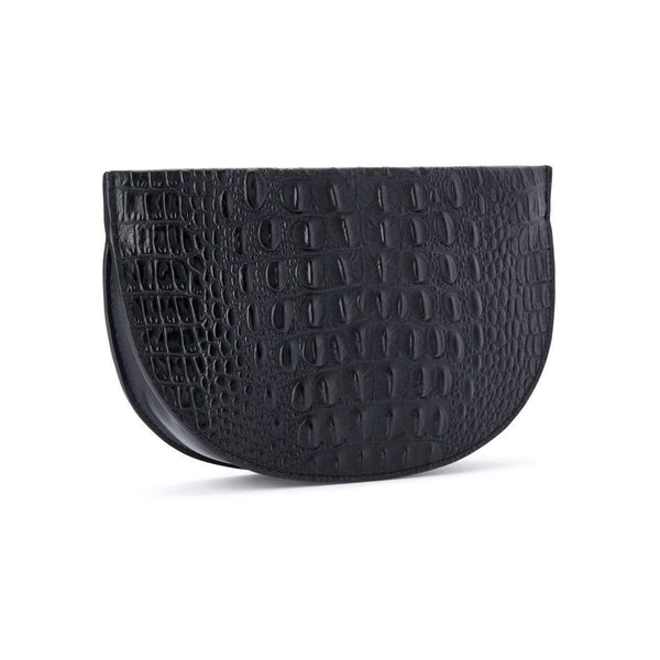 X NIHILO Debby in black clutch, fashion bag with soft gold zipper top closure, luxury black nappa leather / black embossed croc print leather handbag, genuine leather bag