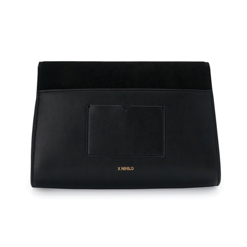 X NIHILO Derby in black bag, fashion bag with magnetic clasp closure, luxury cow nappa leather & nubuck leather on flap handbag, genuine leather bag