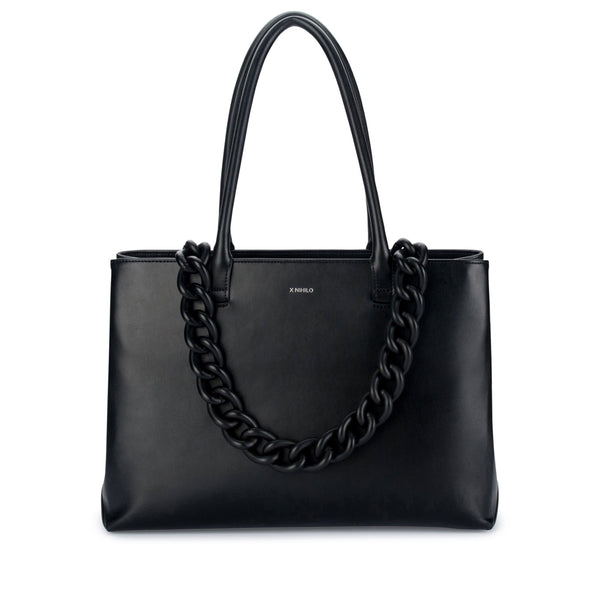 X NIHILO Ernest work tote bag in black, fashion bag with high shine gunmetal hardware, a black matte coated feature chain, and adjustable leather straps included, luxury cow nappa leather handbag, genuine leather bag