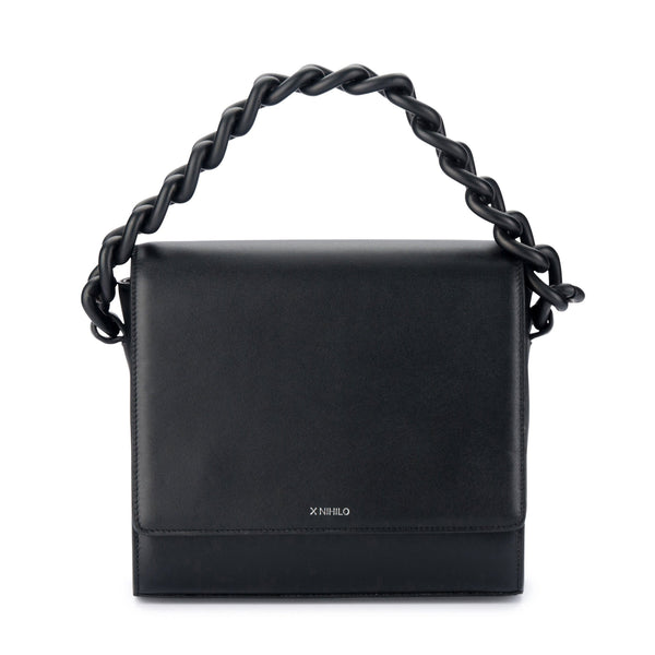 X NIHILO Hardy in black bag with a black matte coated feature chain and high shine gunmetal hardware, fashion bag with leather covered magnetic closure, and adjustable strap, luxury cow nappa leather handbag, genuine leather bag
