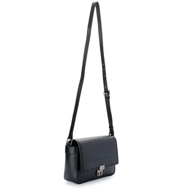 X NIHILO Juggler crossbody bag in black, fashion bag with high shine gunmetal hardware, push clasp closure, and adjustable strap, luxury cow nappa leather handbag, genuine leather bag