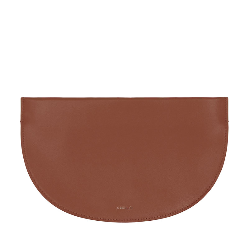X NIHILO Debby in tan clutch, fashion clutch, luxury tan nappa leather handbag, genuine leather clutch