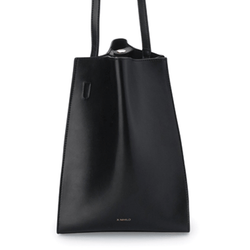 X NIHILO Milford bucket bag in black napa leather, fashion bag with soft gold hardware and two snap button top closure, luxury black cow nappa leather handbag, genuine leather bag