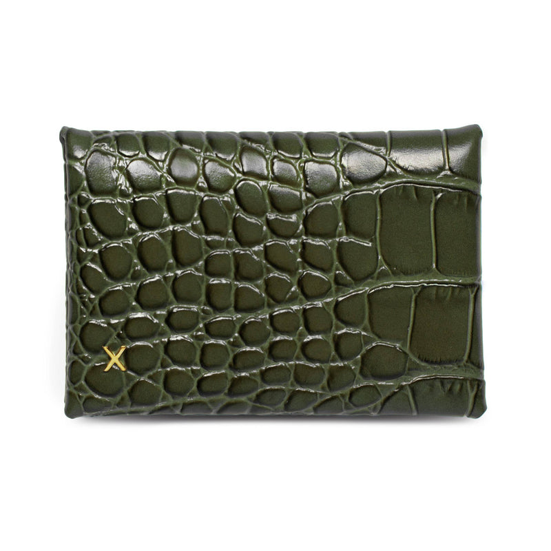 Olive croc print leather cardholder with logo X in gold hardware placed in the bottom corner.