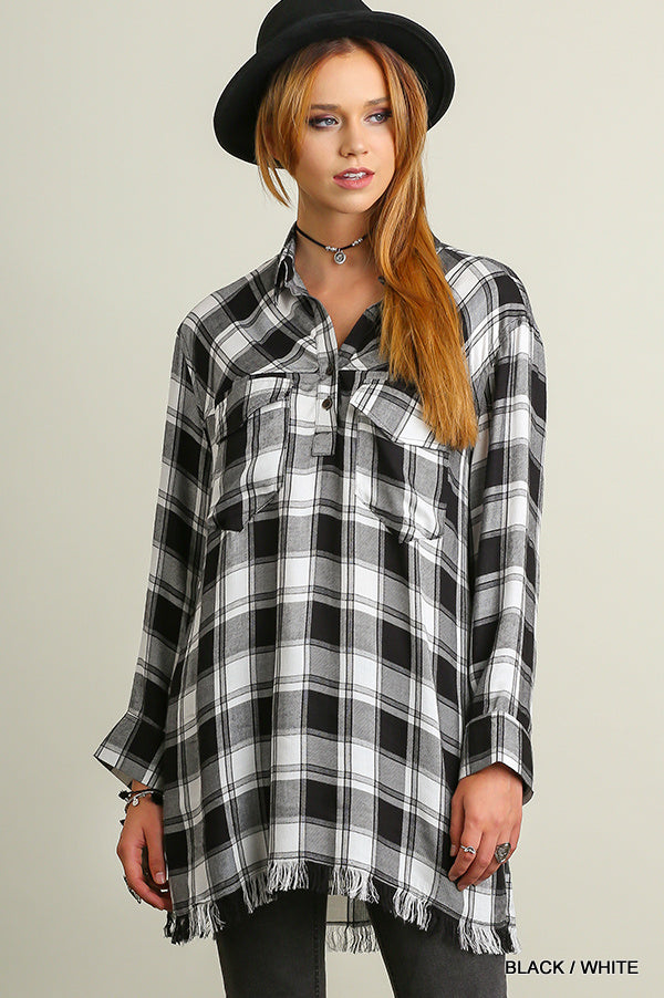 Popover Plaid Print Tunic with Raw Hemline