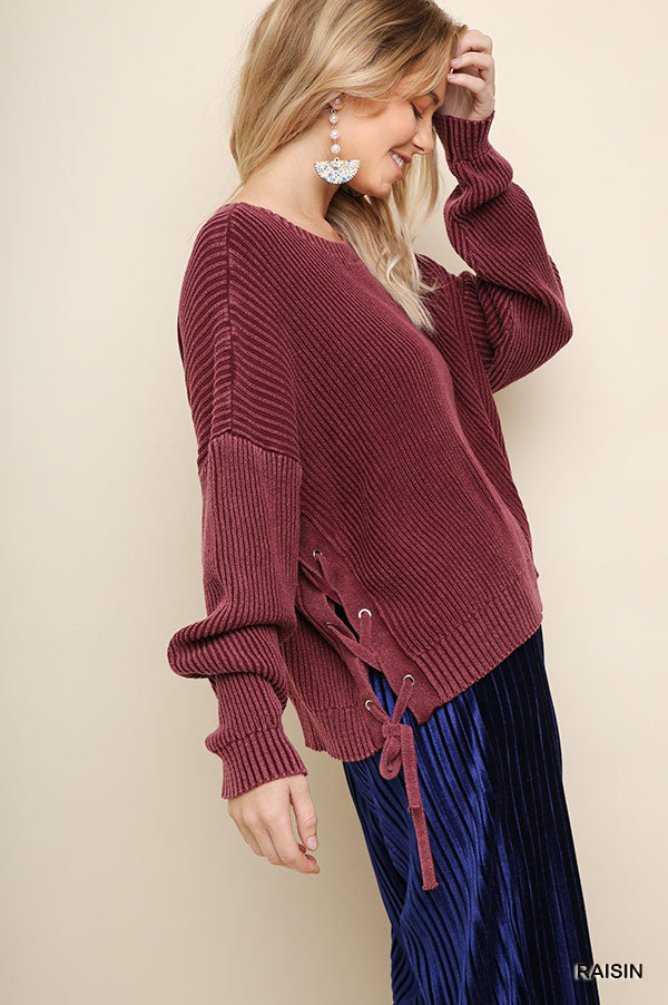 Mineral Washed Knit Pullover Sweater - Raisin