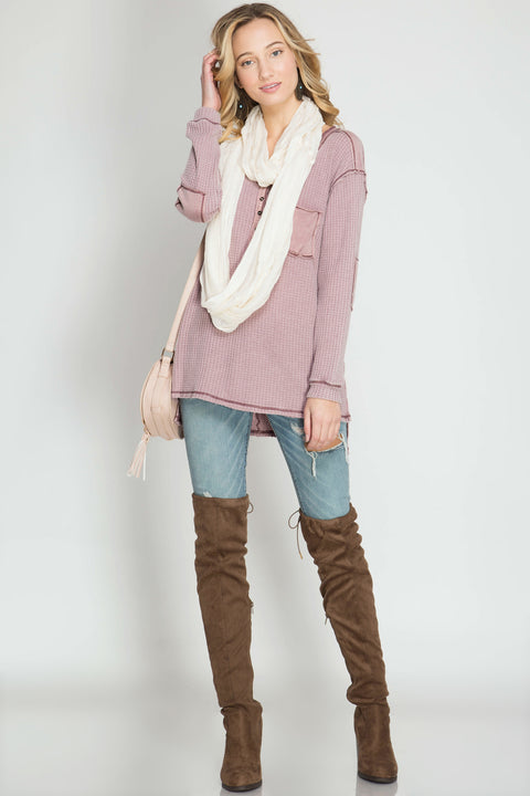 Mauve Washed Thermal Top