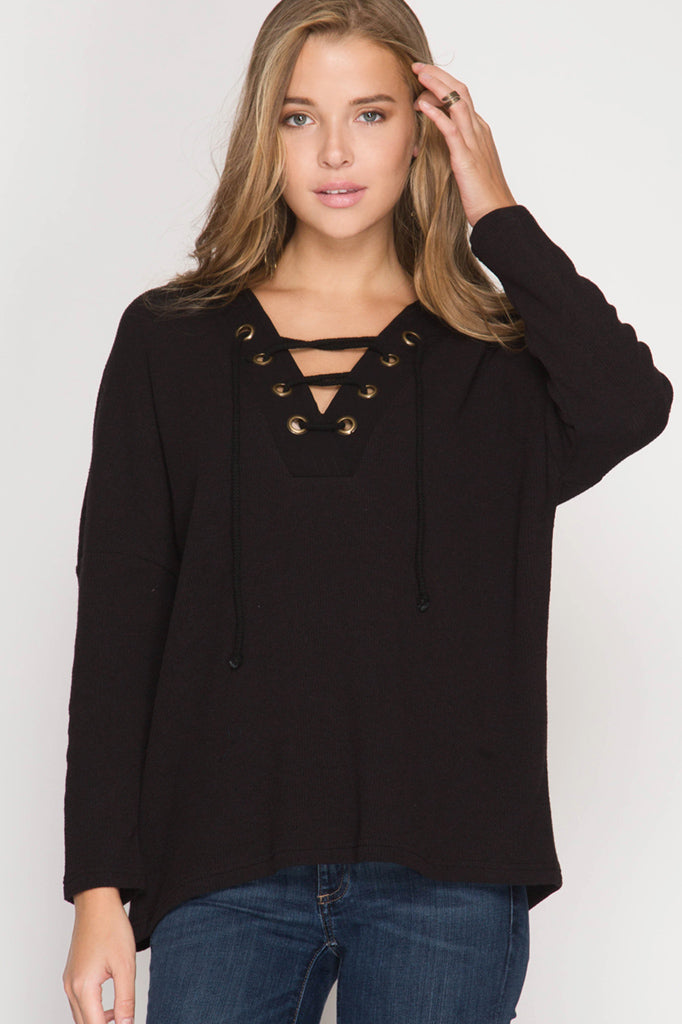 Black Long Sleeve Lace Up Top – 13 Trends Boutique 92af09f1e
