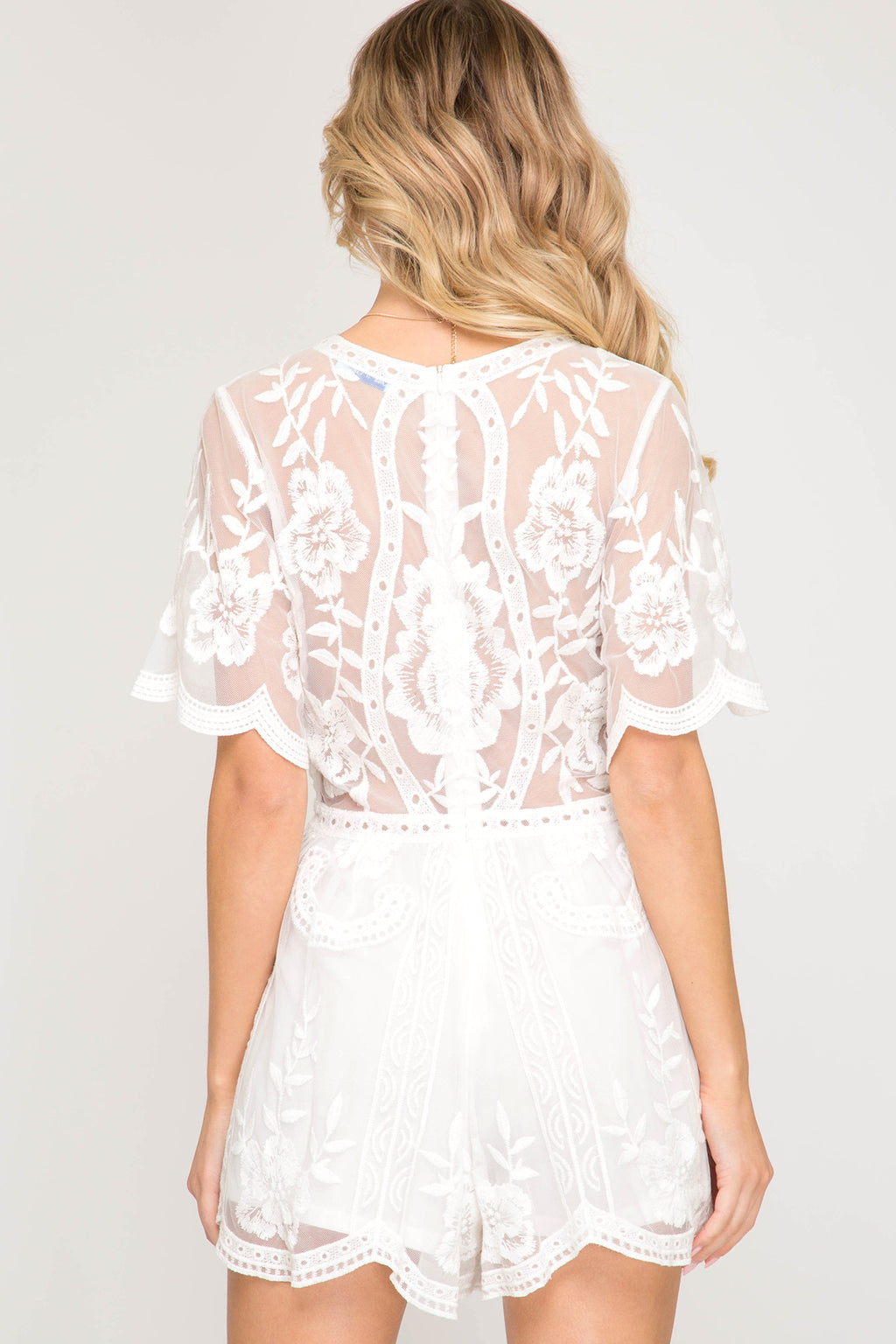 Crochet Lace Romper - Off White