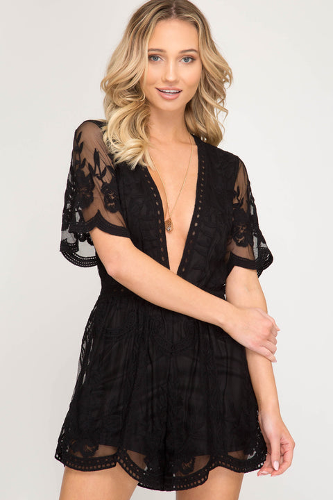 Crochet Lace Romper - Black