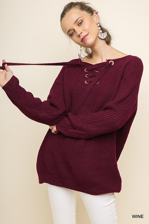 Knit Pullover Laced Up Sweater - Wine