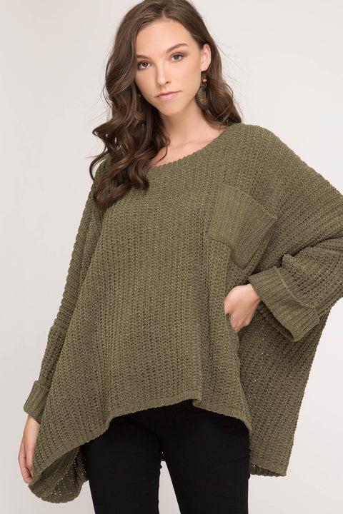 Oversized Sweater with Cuffed Sleeves