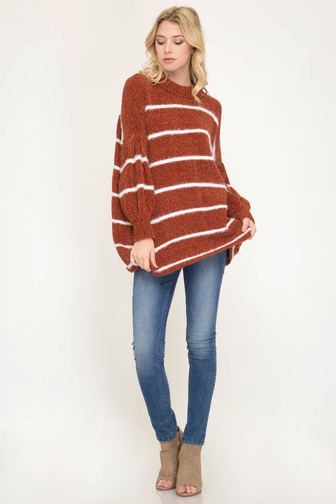 Oversized Chenille Striped Sweater - Rust