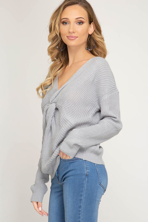 Front Twist Sweater - Blue/Grey