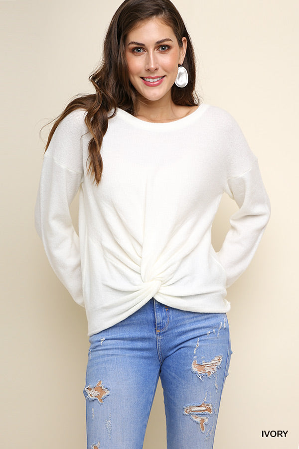 Pullover Sweater with Front Knot - Ivory