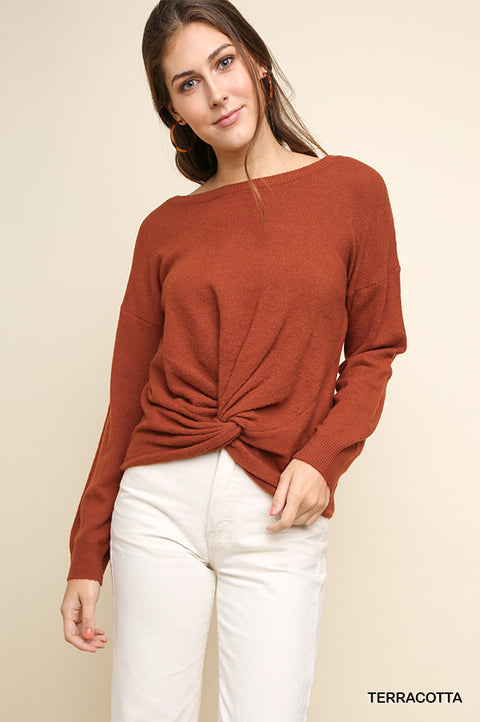 Pullover Sweater with Front Knot - Terracotta