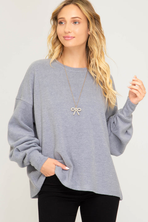 Brushed Knit Sweatshirt Top - Blue/Grey