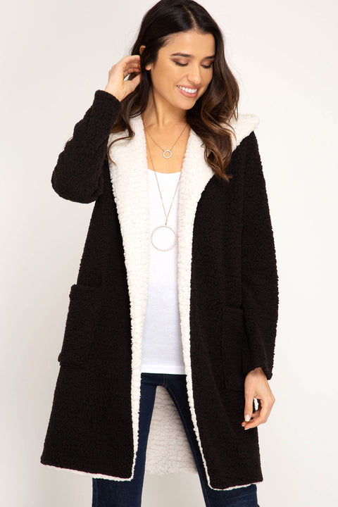 Long Sleeve Hooded Fleece Coat