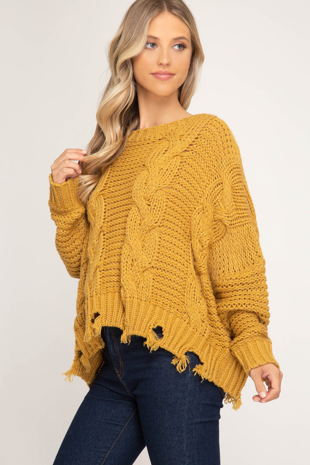Cable Knit Sweater - Mustard