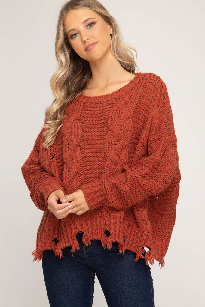 Cable Knit Sweater - Rust