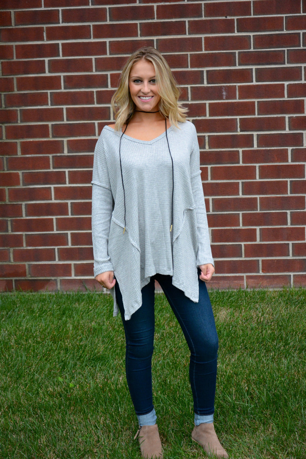 Thermal Knit Top - Grey