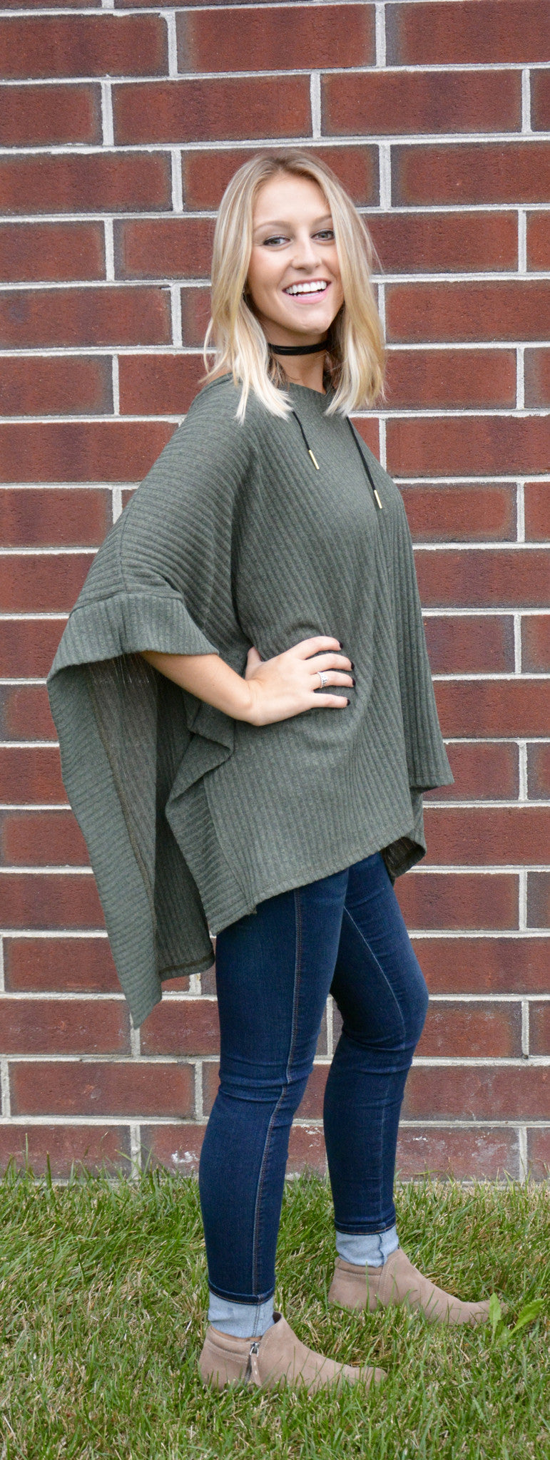 Ribbed Sweater V-Neck Poncho/Cape - Olive