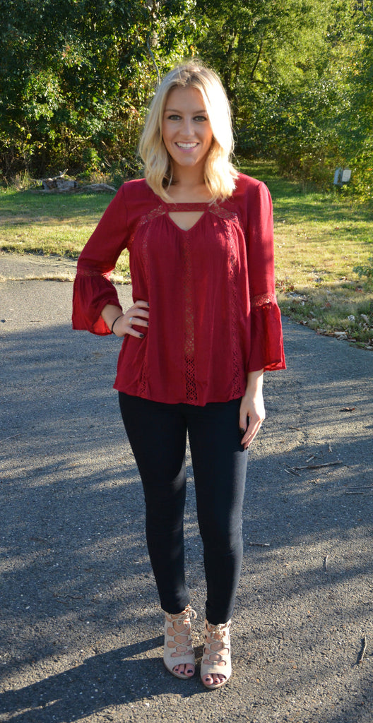 Burgundy Blouse featuring Crochet Lace