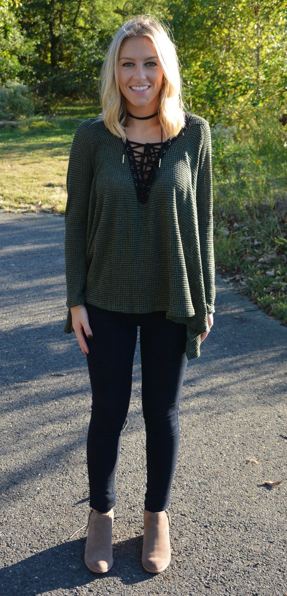 Lace-Up Sweater - Olive