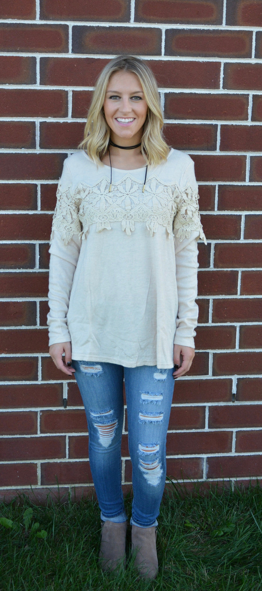 LACE TRIMMED SWEATER - Cream