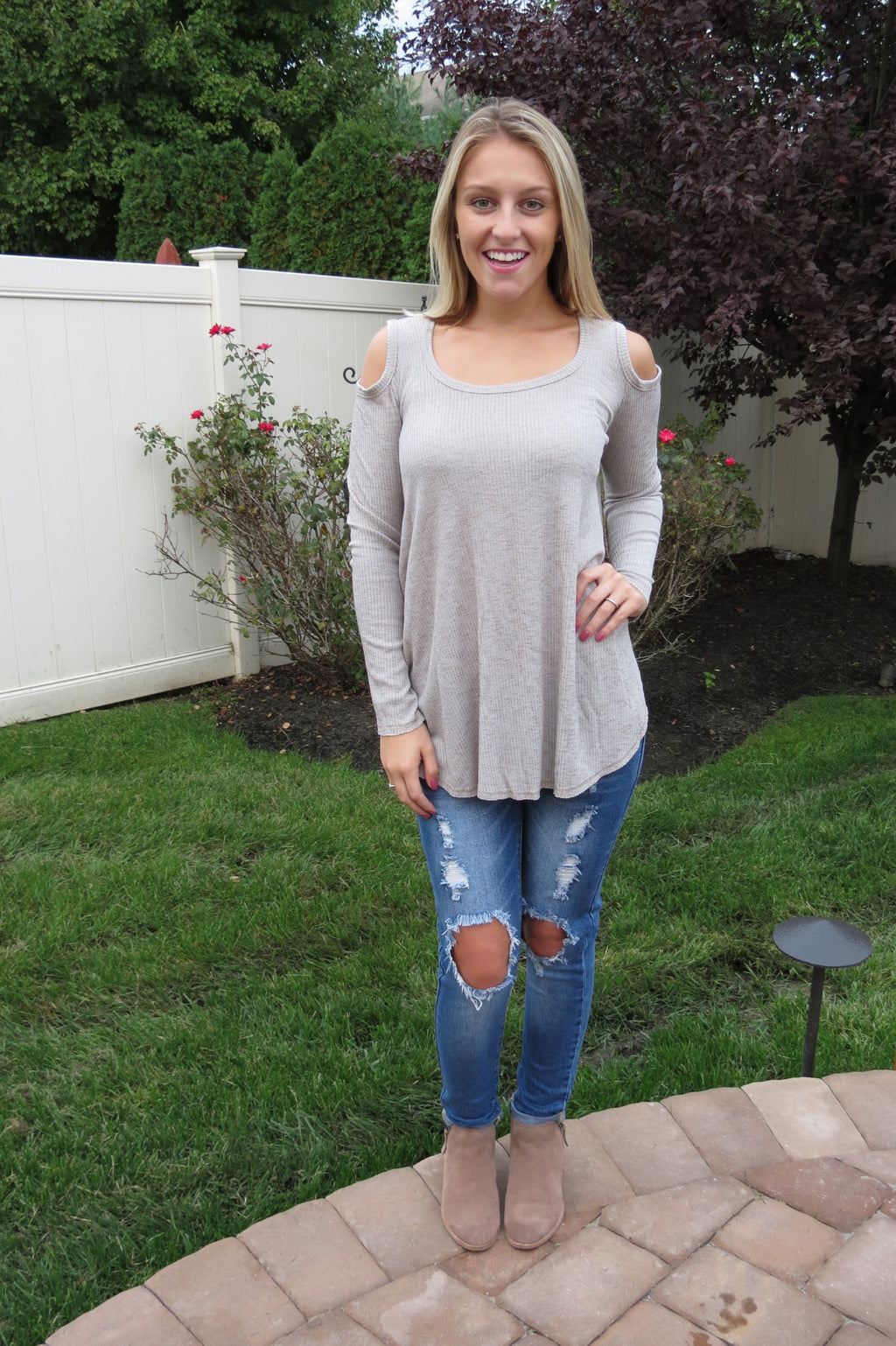 Cold Shoulder Top - Sand