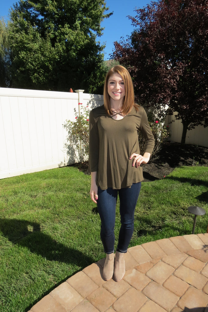 Loose Fitted Top - Olive