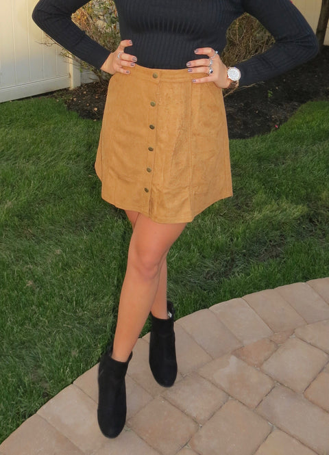 Faux Suede Skirt - Camel