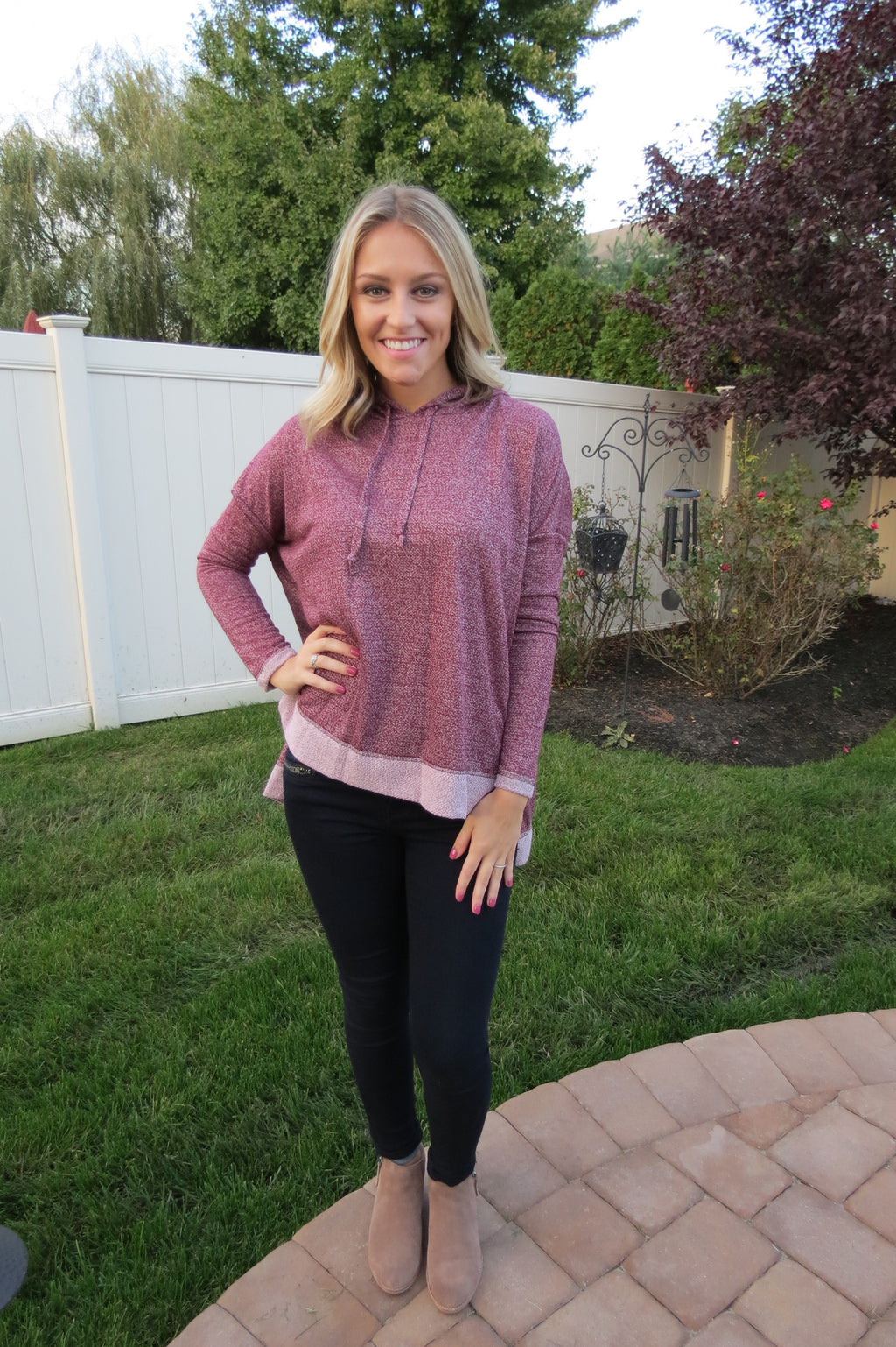 Comfy Terry Knit Sweatshirt - Wine