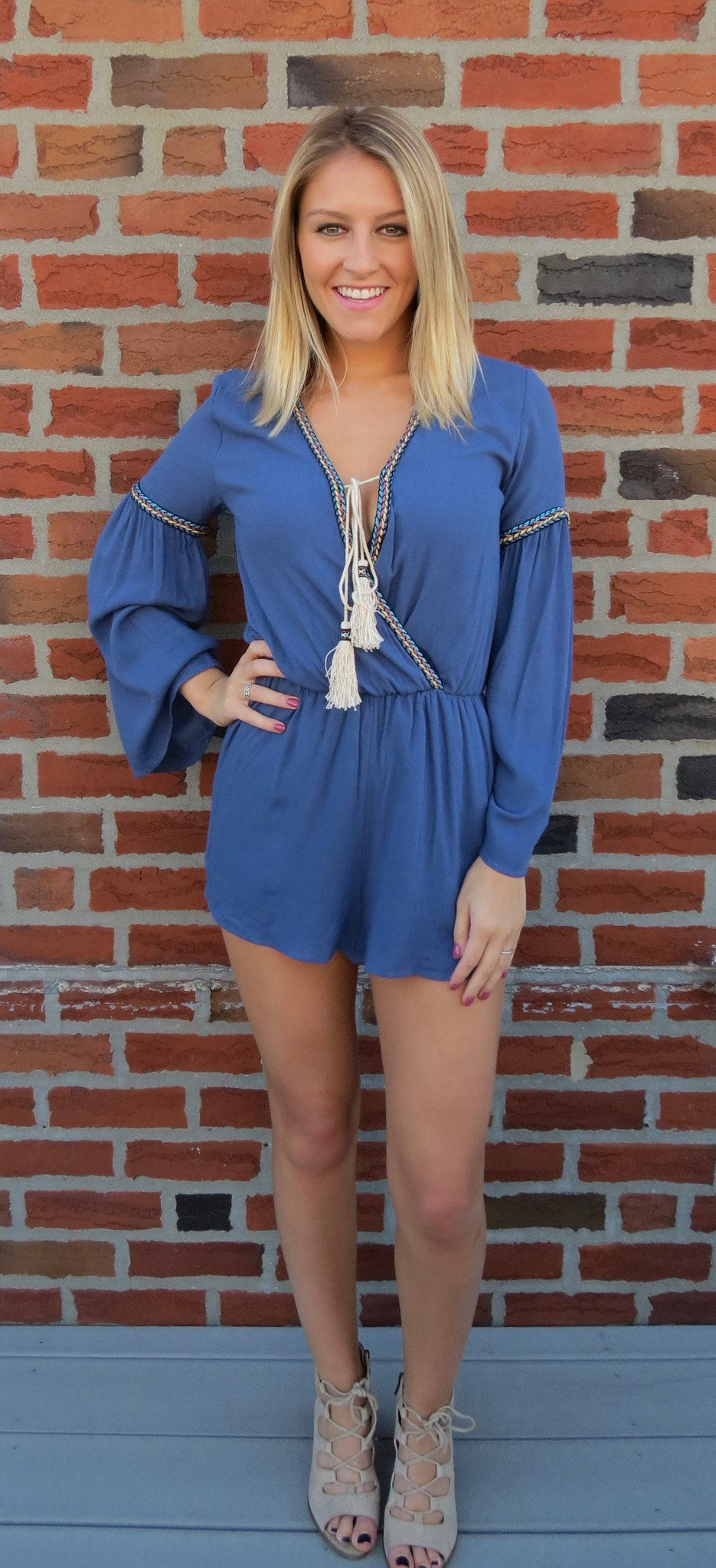 Relaxed Fit Romper - Slate Blue
