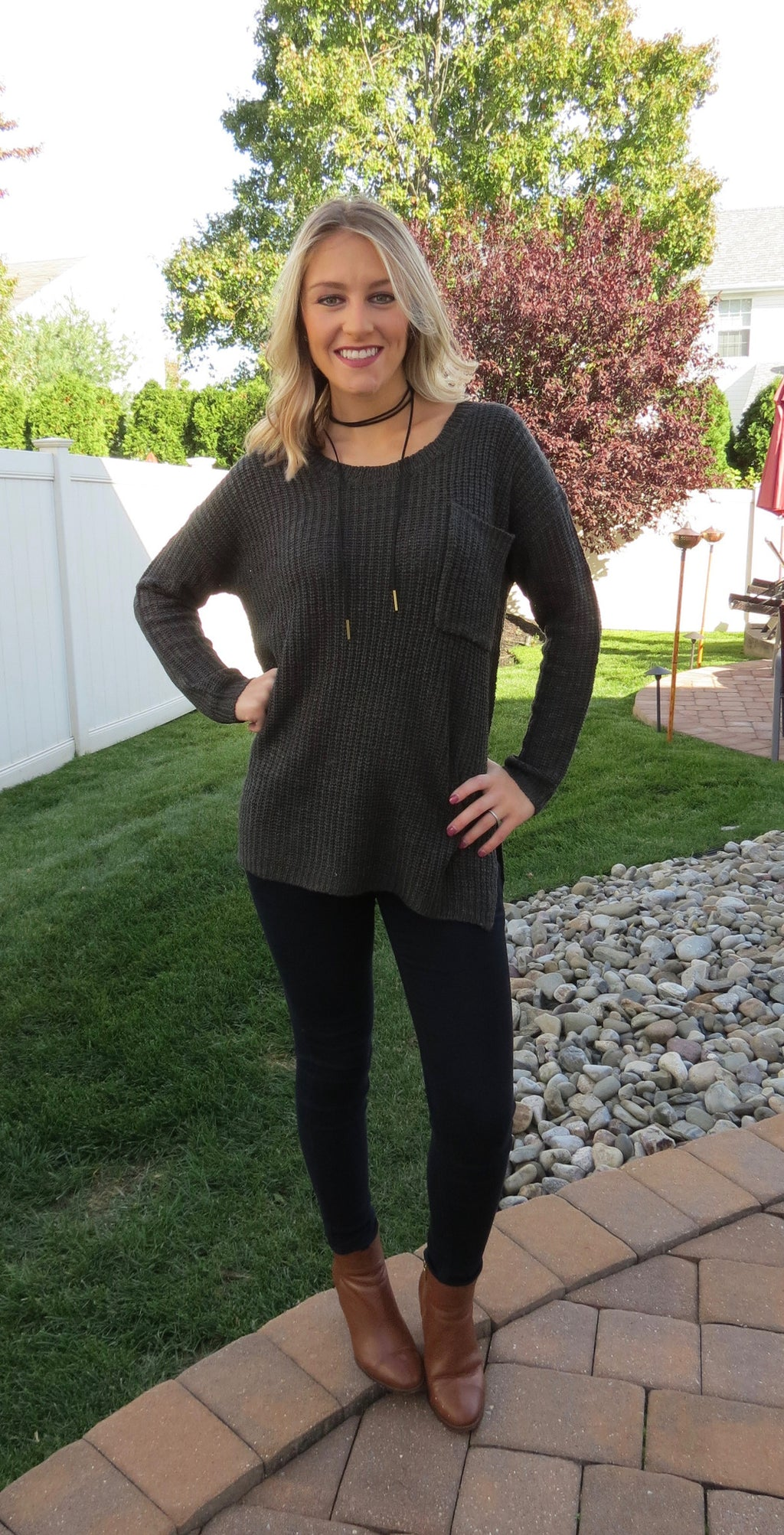 SIDE SLIT KNITTED SWEATER - CHARCOAL