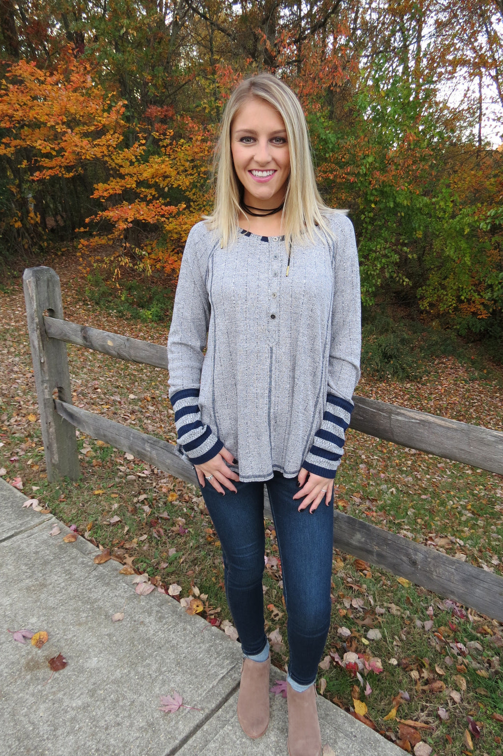 Comfy Long Sleeve Top - Grey with Navy Stripes