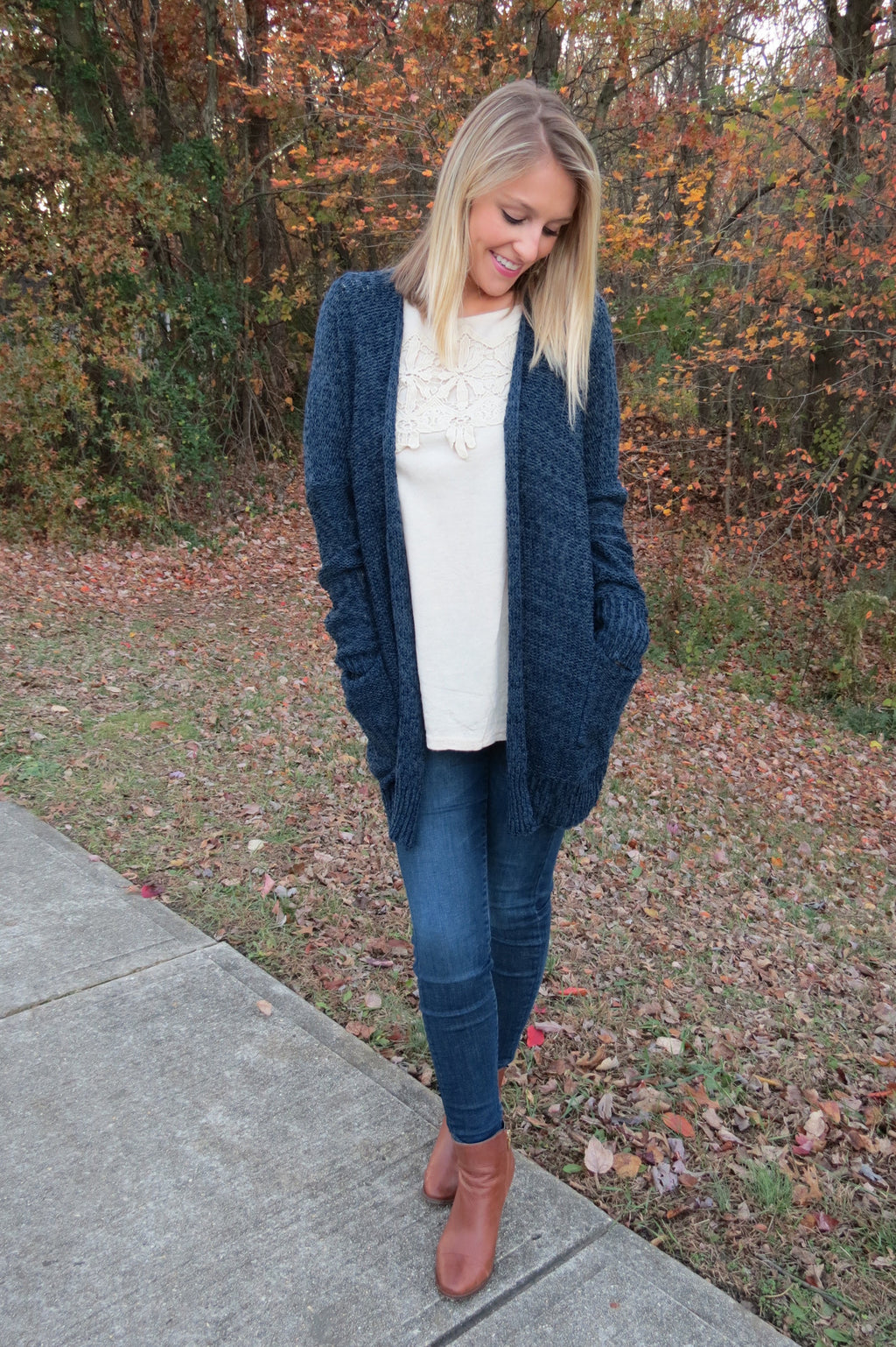 KNIT FRONT POCKET CARDIGAN - NAVY