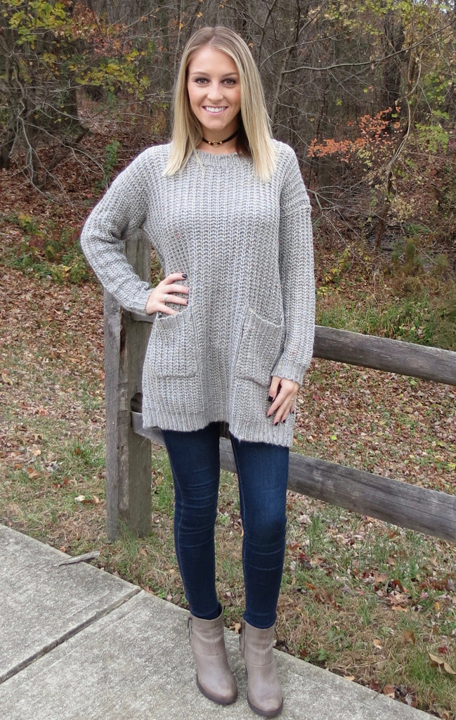 Oversized Knit Crochet Tunic Sweater - Heather Grey
