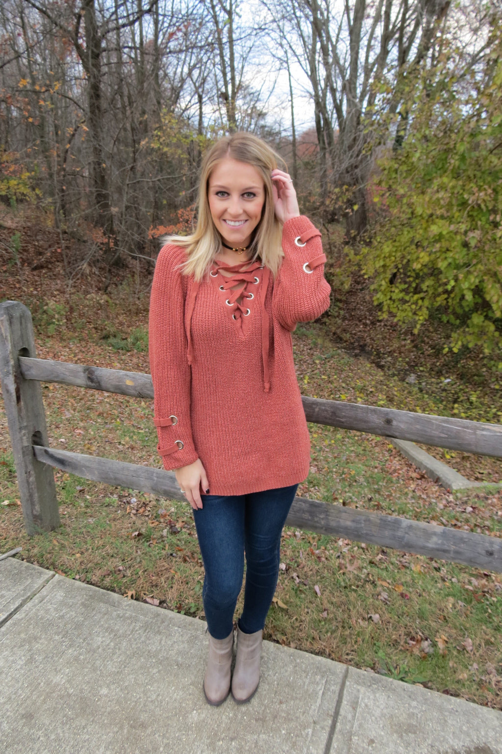 Lace Up Knit Sweater - Rust