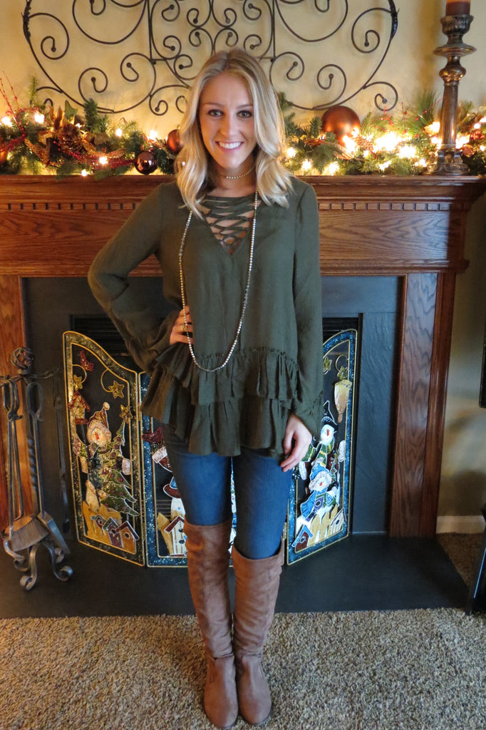 Long Sleeve Lace Up Top - Olive