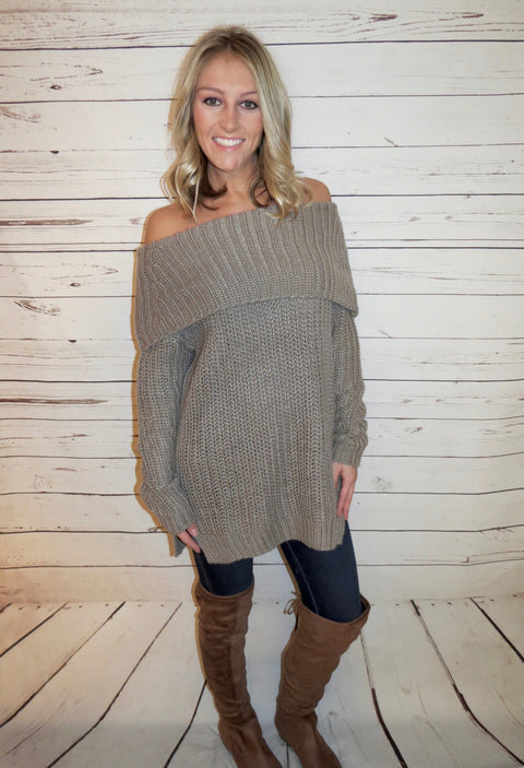 Cozy Off The Shoulder Sweater - Mocha