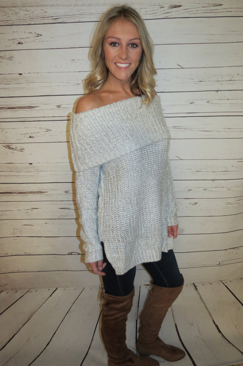 Cozy Off The Shoulder Sweater - Light Grey