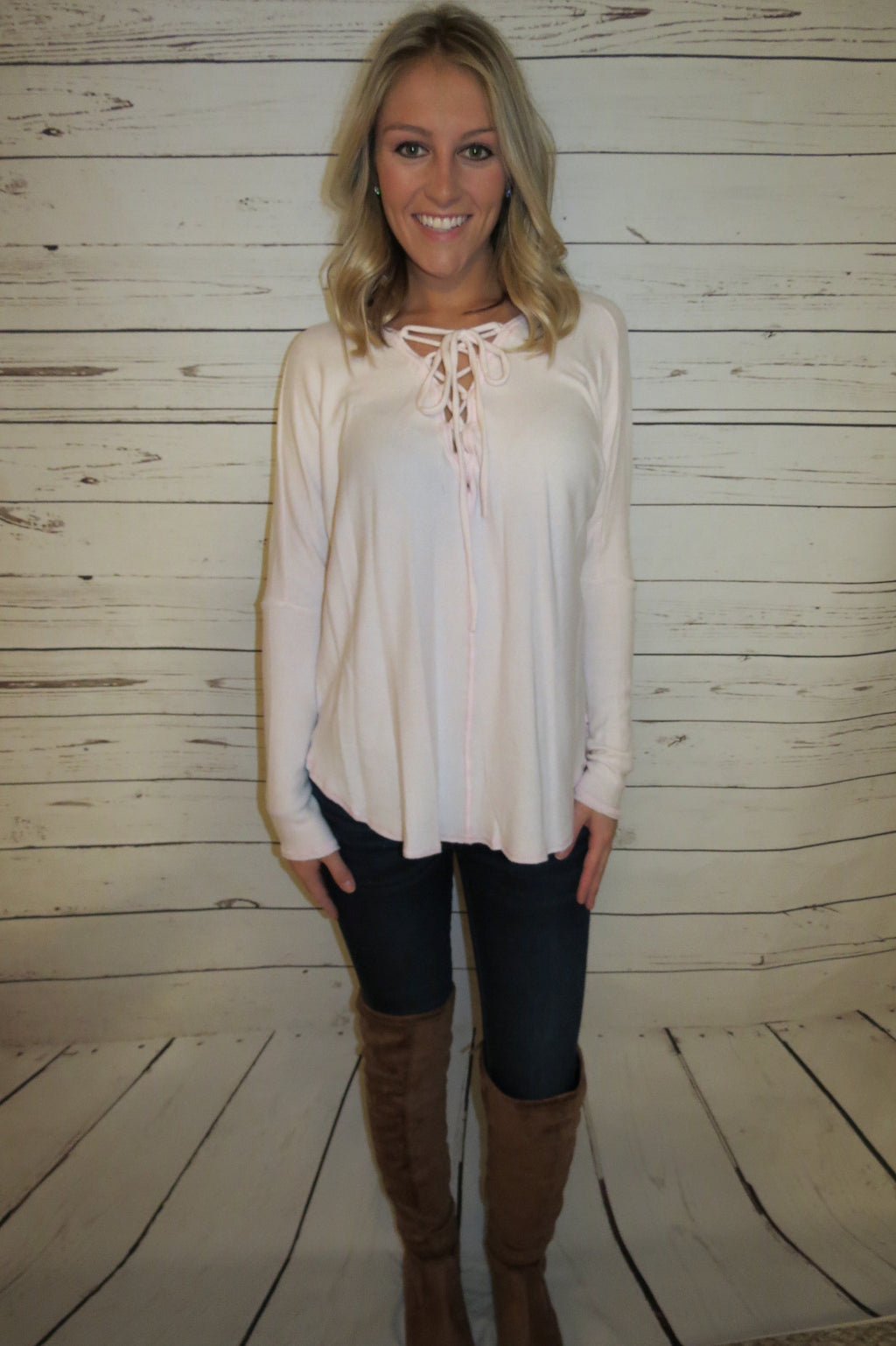 Soft Pink Lace Up Top