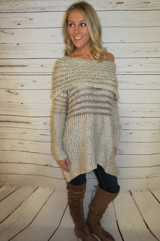 Cream & Taupe Knit Tunic