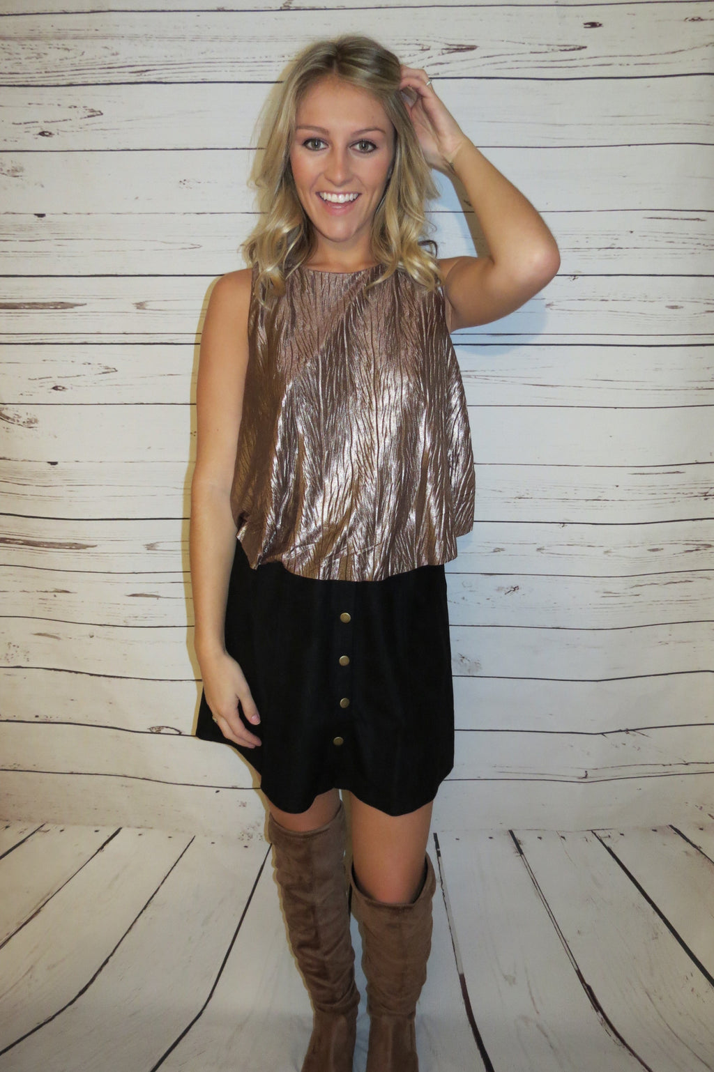 SLEEVELESS METALLIC CROP TOP - MOCHA