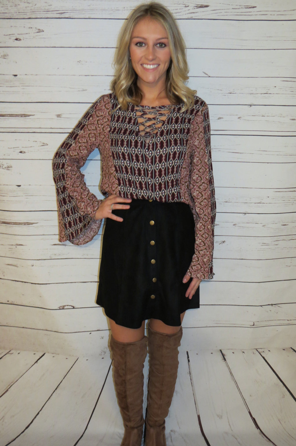 Lace-Up Blouse with Bell Sleeves - Burgundy
