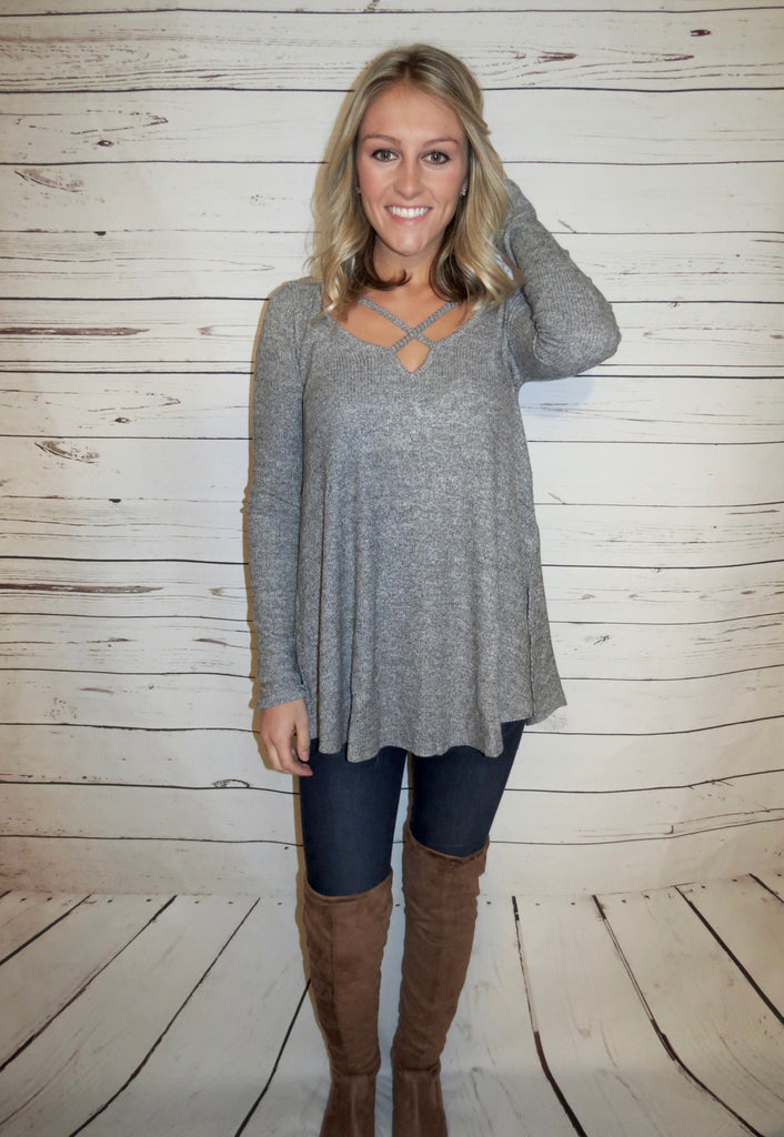 Criss Cross Top - Grey