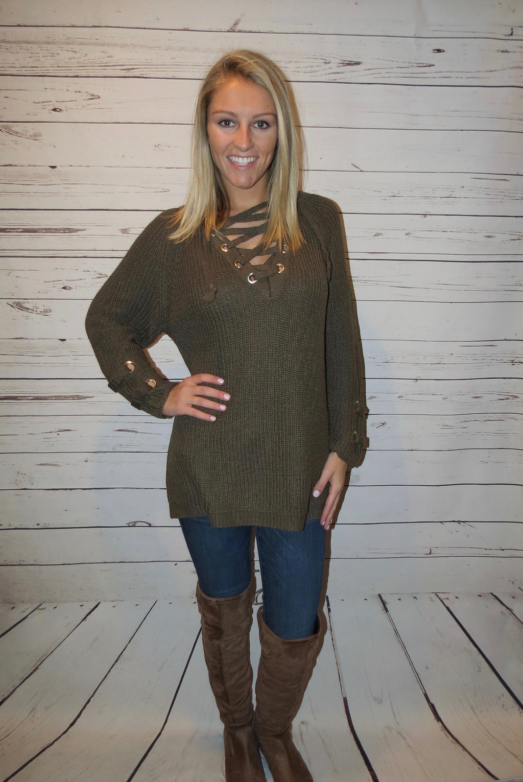 Lace Up Knit Sweater - Olive