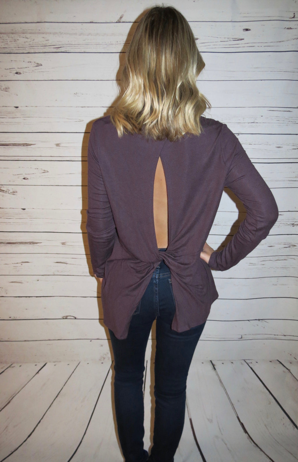 Knot Back Long Sleeve Top - Plum