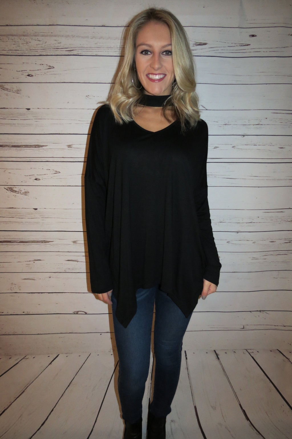 Choker Top with A-Line Hem - Black